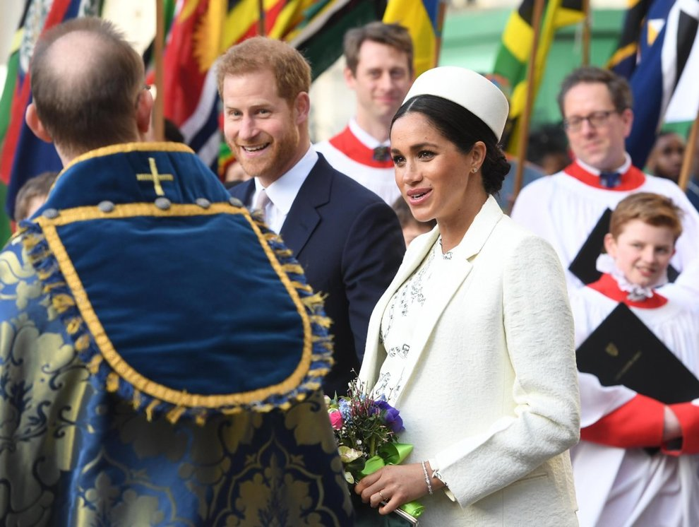 epa07429332 Britain's Prince Harry (C) and Meghan, Duchess of Sussex leave a Commonwealth service at Westminster Abbey in London, Britain, 11 March 2019. The Commonwealth represents a global network of 53 countries and almost 2.4 billion people, a third of the worldâs population, of whom 60 percent are under 30 years old. EPA/FACUNDO ARRIZABALAGA